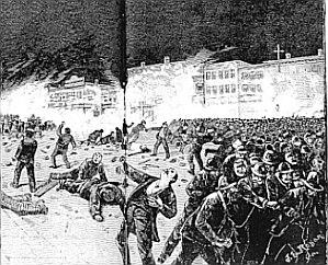 Peritiwa kerusuhan Haymarket. (Wikipedia).
