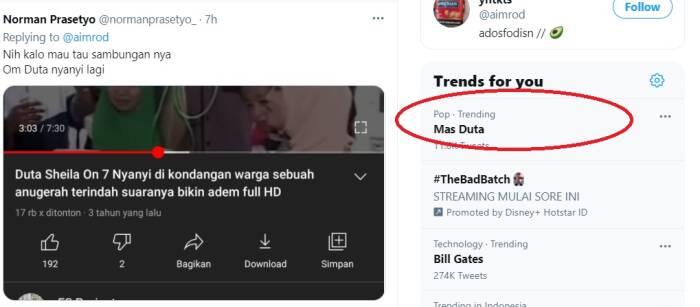 Mas Duta jadi trending topic Twitter.