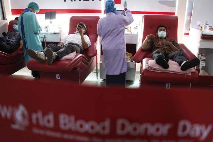 Petugas Palang Merah Indonesia (PMI) Solo memakai topi bertuliskan World Blood Donor Day saat melakukan tranfusi darah pendonor di gedung PMI setempat, Solo