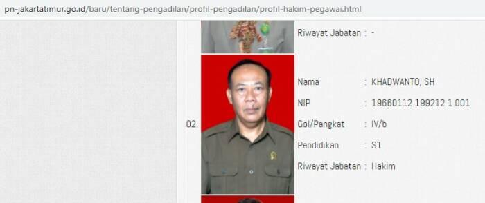 Profil hakim Khadwanto dalam website PN Jakarta Timur. (Ist)