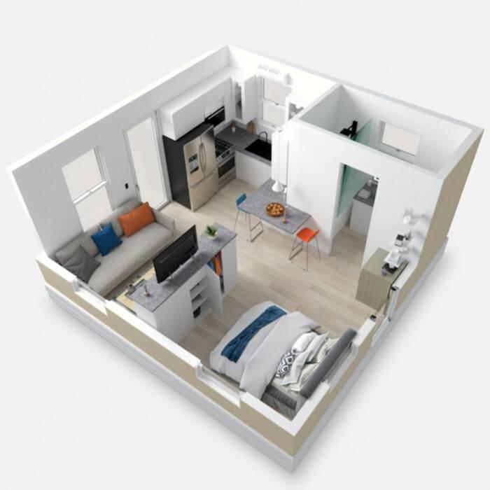 Denah rumah flatpack sederhana seharga Rp 722 juta.