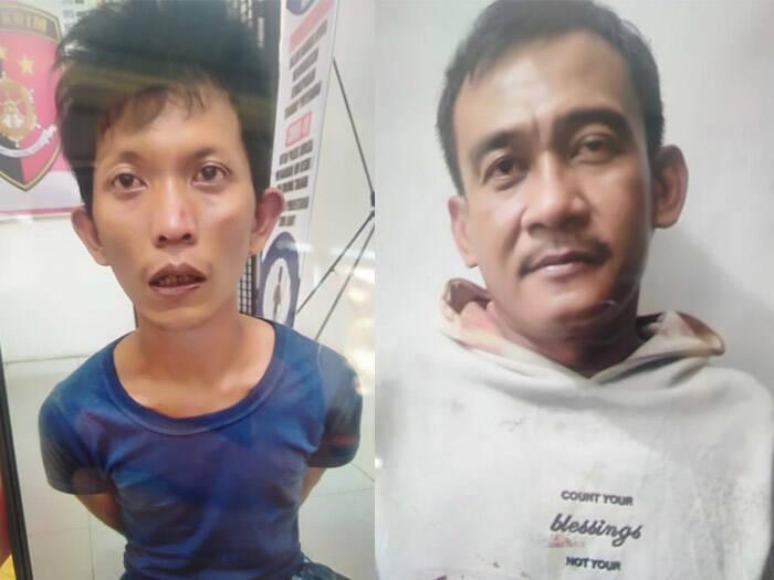 Wan Helmi dan Tri Tantomo pelaku pembunuhan penjaga toko Kalinus Zai. (Foto/LBH Ononiha)