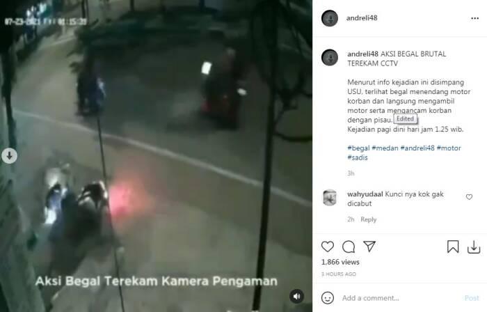 Aksi begal terekam CCTV di Simpang USU Kota Medan