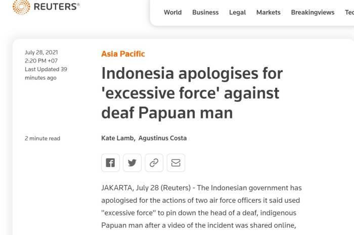 Reuters sebut pemerintah Indonesia minta maaf karena 2 oknum TNI AU (screenshot Reuters)