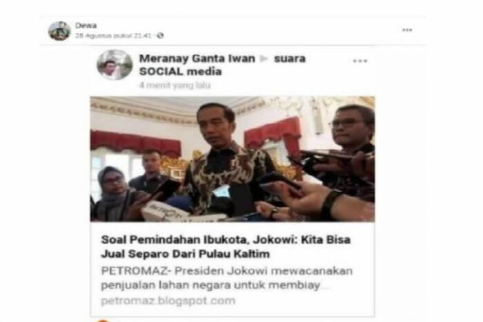 Tangkapan layar artikel yang menyatakan Jokowi akan jual sebagian Kaltim (photo/Facebook/ilustrasi)