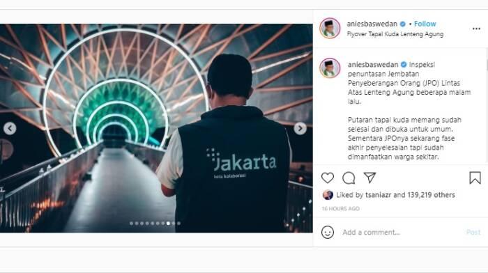 Anies Baswedan tentang JPO Tapal Kuda. (Instagram/@aniesbaswedan).